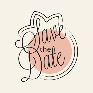 Save the Date hand lettering for your design clip art vector