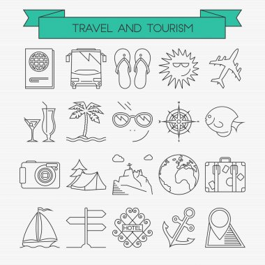 Travel and tourism line icons set