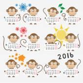 Kalendář 2016 s roztomilý opice