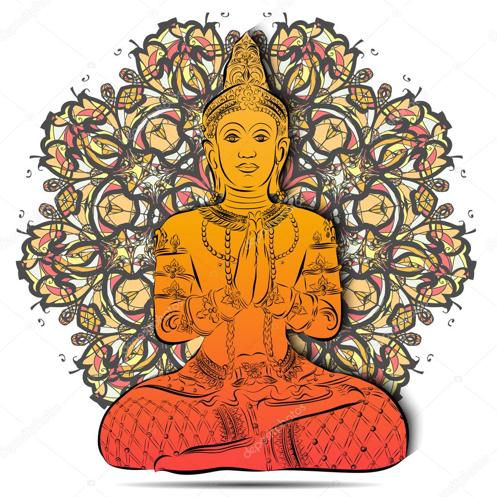 Silhouette of Buddha sitting on a floral mandala background