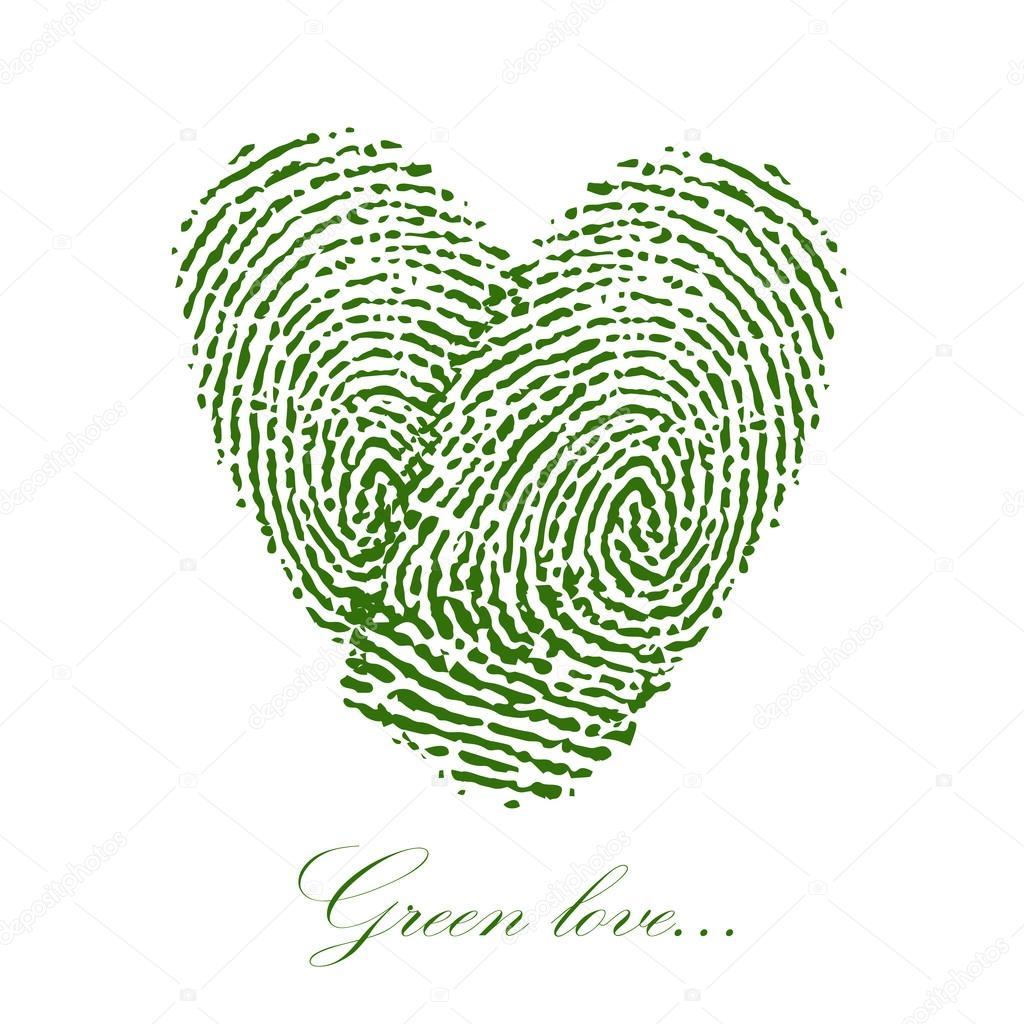 Grun Fingerabdruck Mit Herz Auf Einem Weissen Hintergrund Vektor