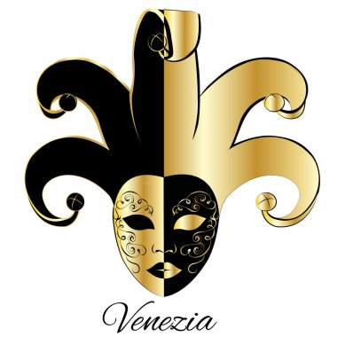 Vector gold and black decoration mask in venetian style. EPS
