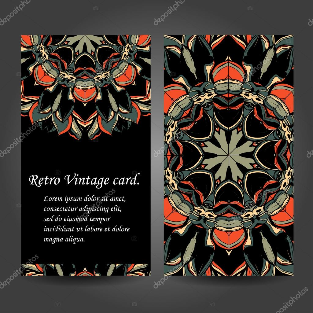 Set retro business card. Vector background. Card or invitation. Vintage decorative elements. Hand drawn. Islam, Arabic, Indian, ottoman motifs. EPS