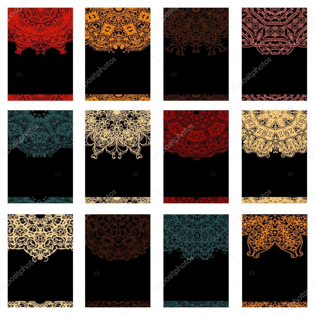 Set retro monochrome business card. Vector background. Card or invitation. Vintage decorative elements. Hand drawn. Islam, Arabic, Indian, ottoman motifs. EPS