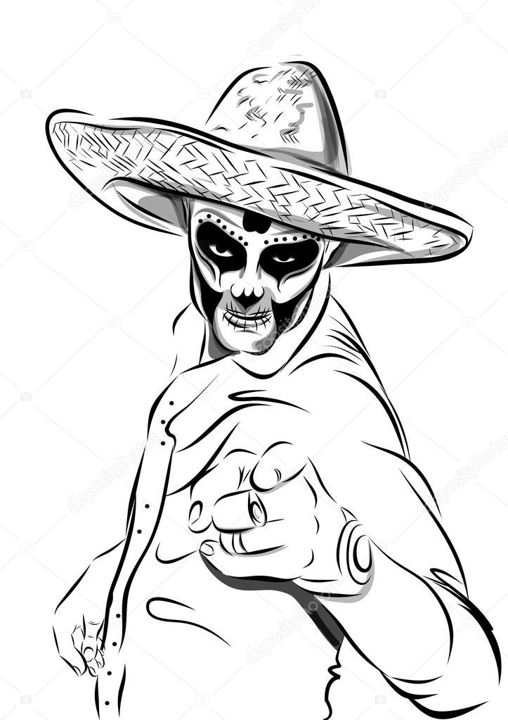 Día del vector de hombre cráneo muerto del azúcar. Calavera mexicana ...