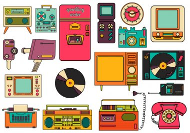 set of color vintage flat electronic icons 80-90s. Vector