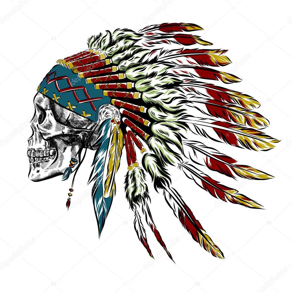 Tocado de plumas de indio nativo americano dibujado a mano con cráneo  humano. Ilustración de 4139bb37a58