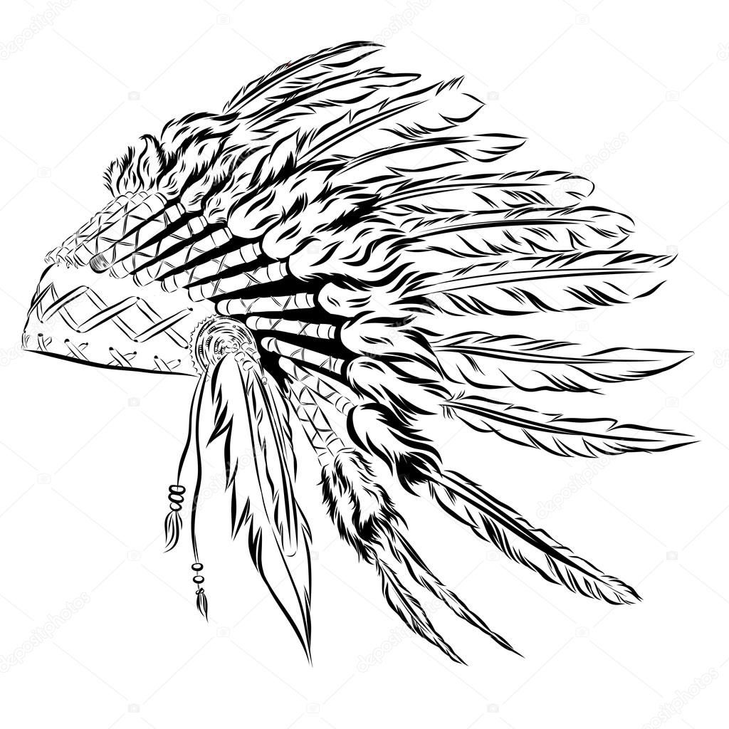 Native American indian headdress with feathers in a sketch style ...