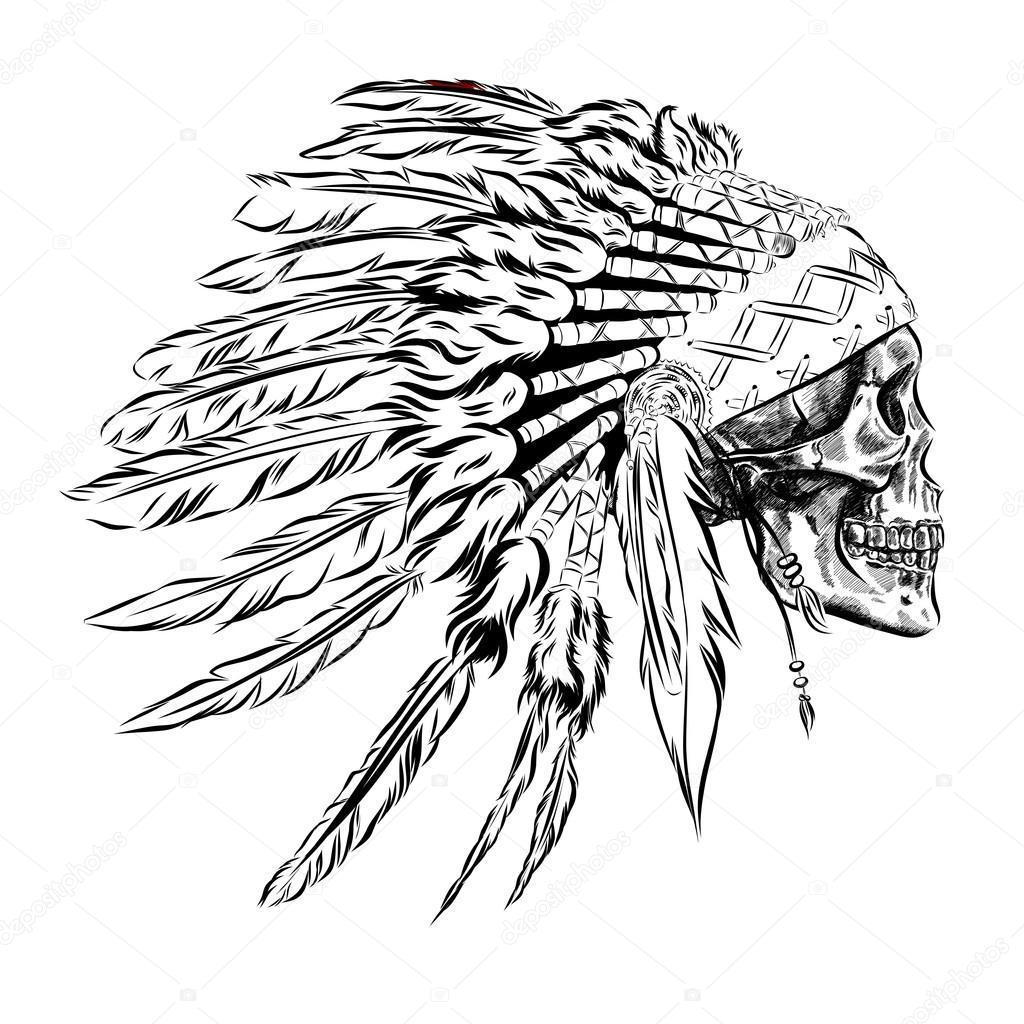 Tocado de plumas de indio nativo americano dibujado a mano con cráneo  humano. Vector ilustración Eps - dibujo craneo con plumas — Vector de  AlisaRed835 ... ab5f47aa31d