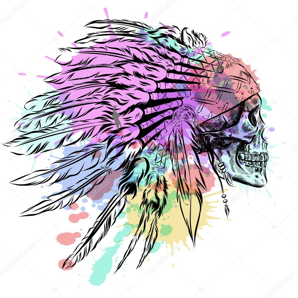 Tocado de plumas de indio nativo americano dibujado a mano con cráneo  humano. Vector ilustración 3c8aec6ff06