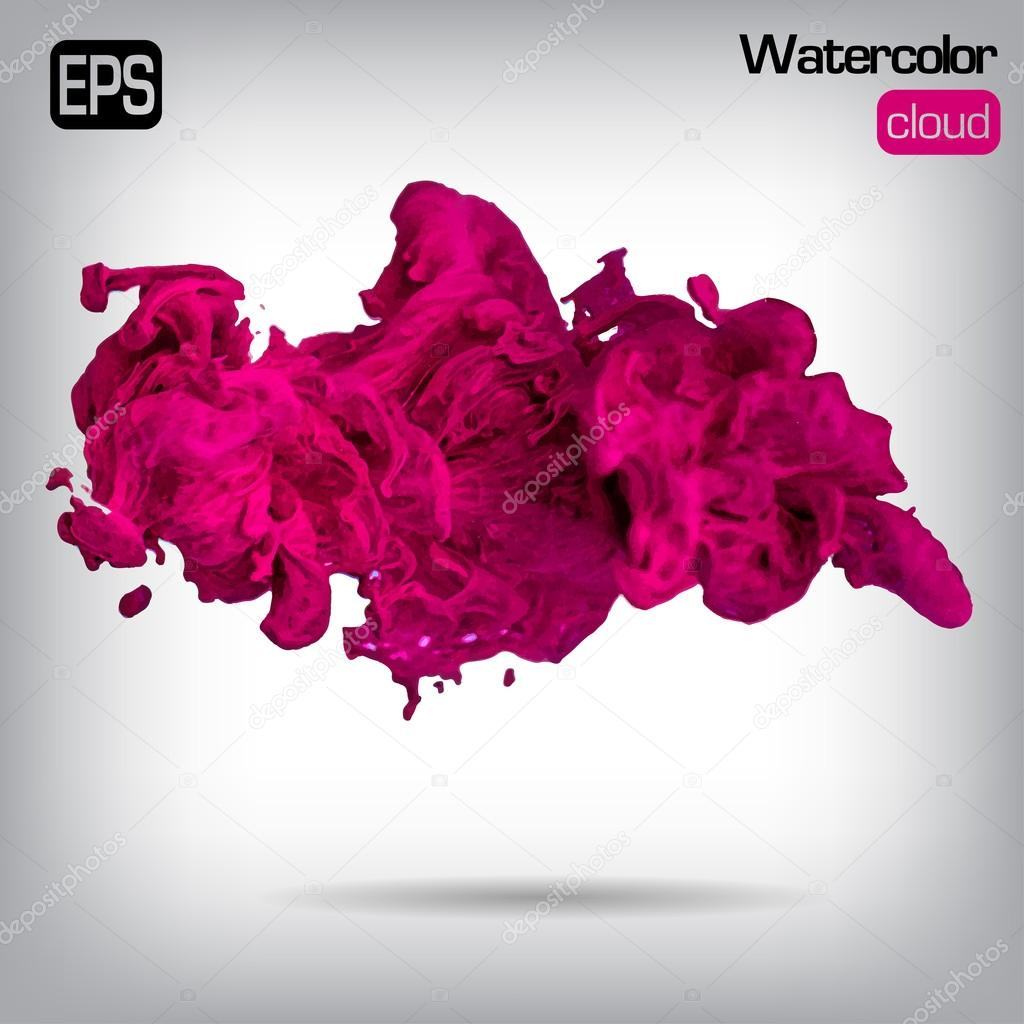 Vector ink swirling in water. Isolated cloud.