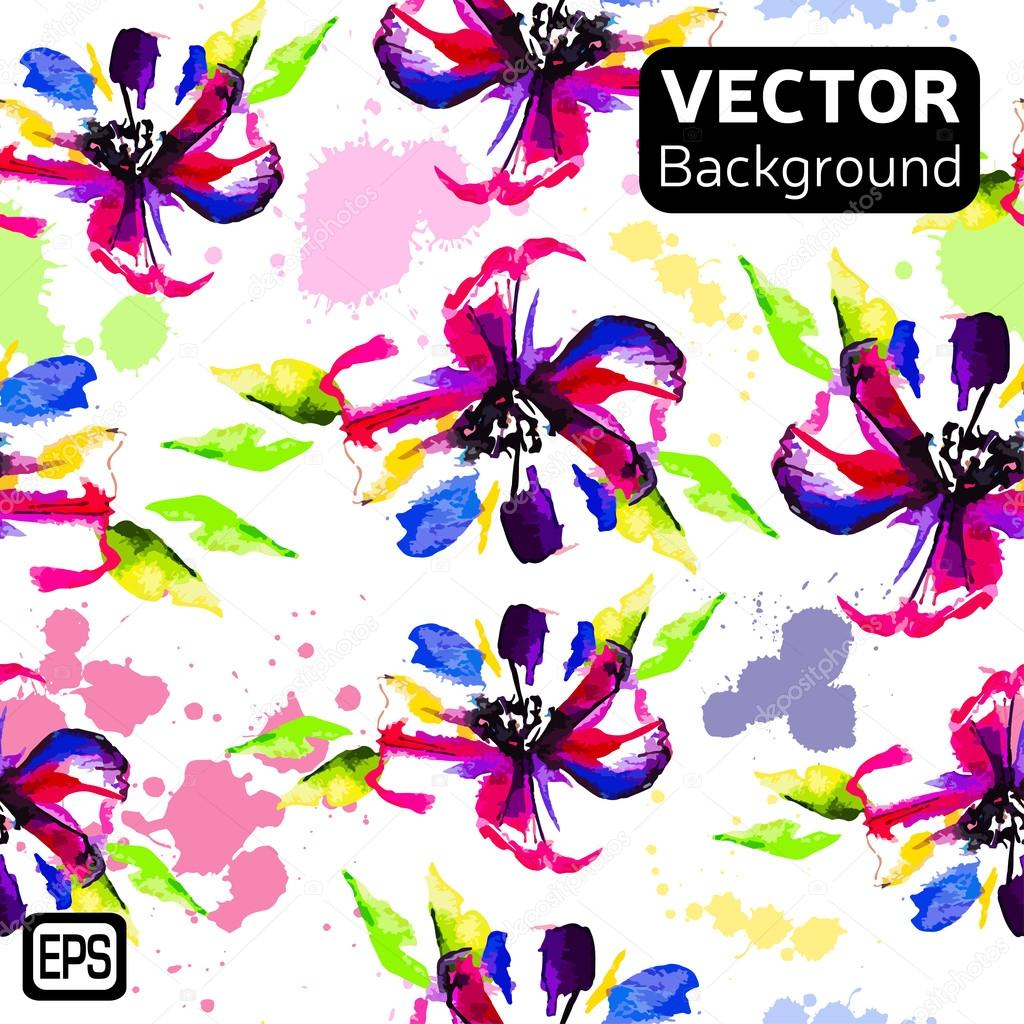 Multicolor Watercolor Vector Flowers