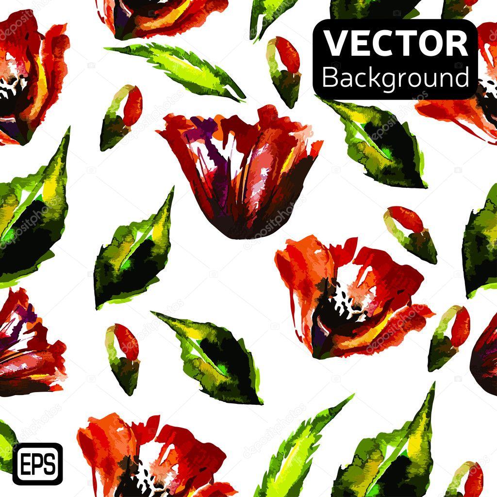Multicolor Watercolor Vector Flowers