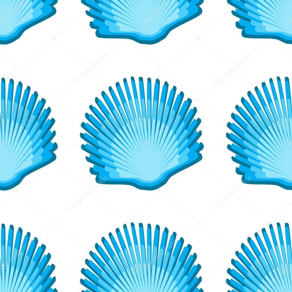 Scallop seashell semless pattern on background. Vector illustration