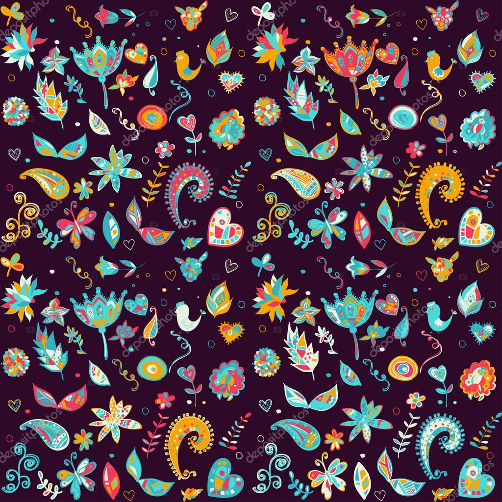 Seamless set multicolored retro flower pattern.