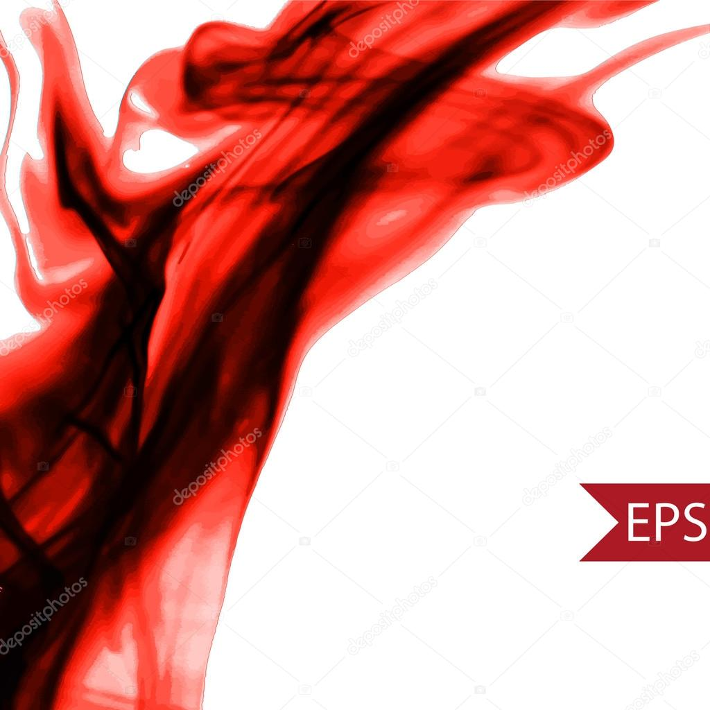 Vector abstract red cloud. Ink swirling in water, clouds of ink isolated. Abstract banner paints.