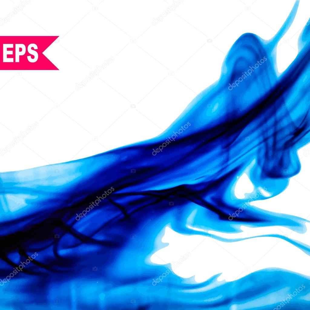 Vector abstract blue cloud. Ink swirling in water, clouds of ink isolated. Abstract banner paints.