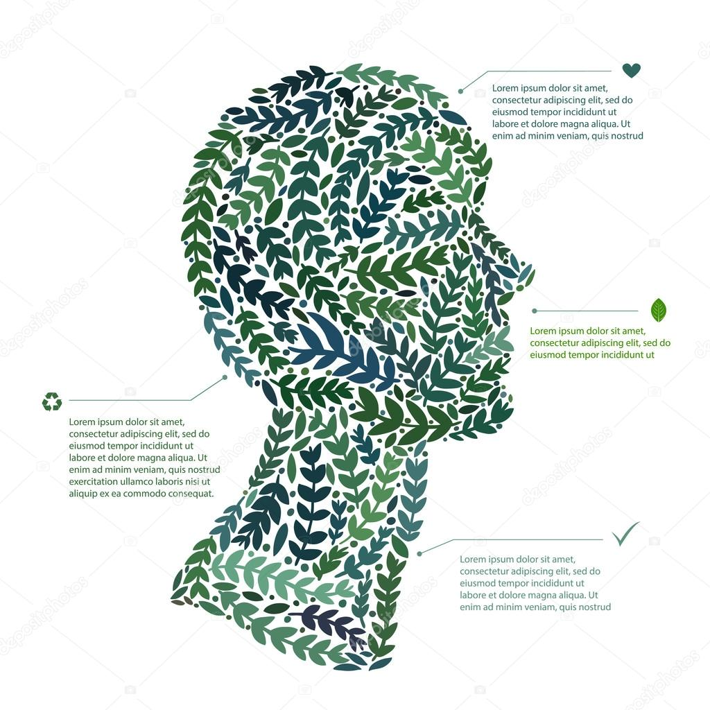 Green leaf portrait man head symbol. Vector file available.