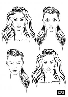 beautiful woman face set hand drawn vector illustration.