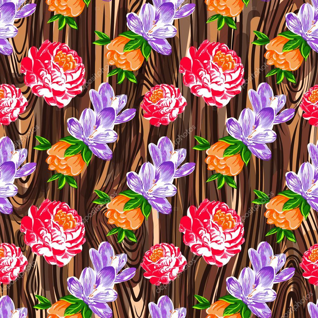 Floral vintage flower pattern vector.