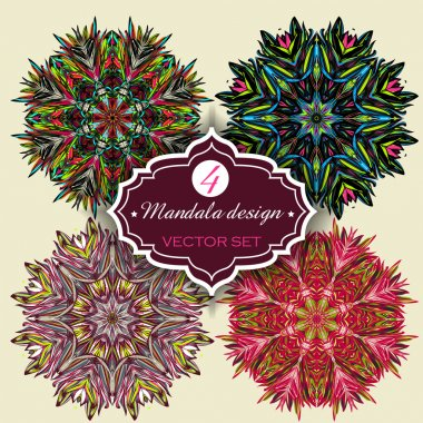 Set of Ornament round mandalas. Geometric circle element made in vector. Perfect set for any other kind of design, birthday and other holiday, kaleidoscope, medallion, yoga, india, arabic