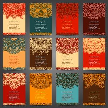 Set retro business invitation card. Vector. Vintage decorative elements. Hand drawn background. Islam, Arabic, Indian, ottoman motifs.