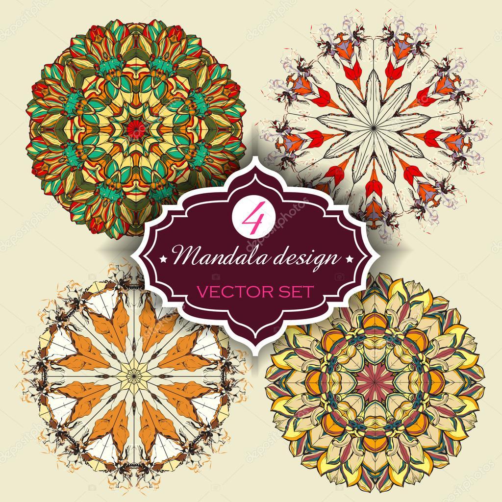 Conjunto De Adornos Redondos Mandalas Elemento Geometrico Circulo