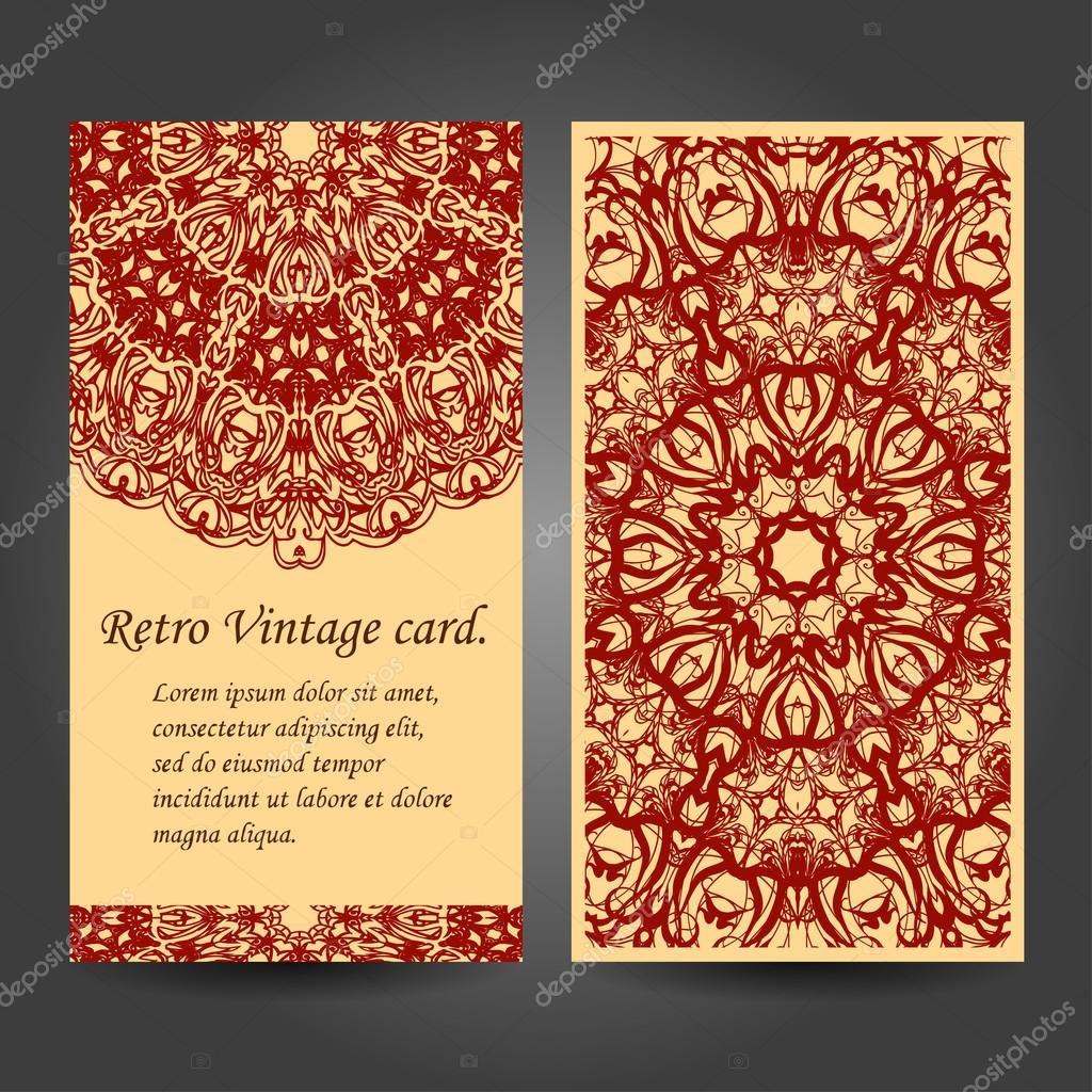 Set retro business invitation card. Vector. Vintage decorative elements. Hand drawn background. Islam, Arabic, Indian, ottoman motifs.