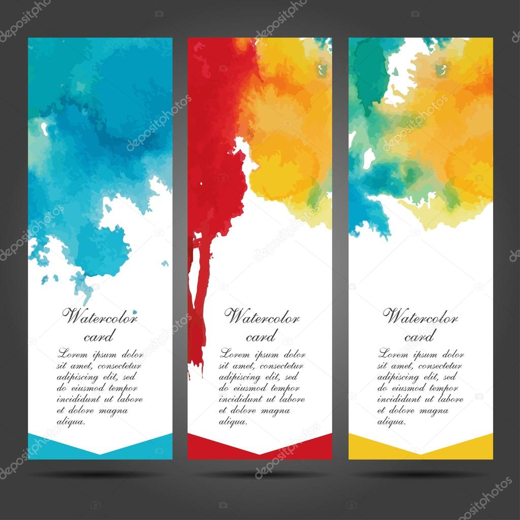 Three vector business cards template with hand painted watercolor ...