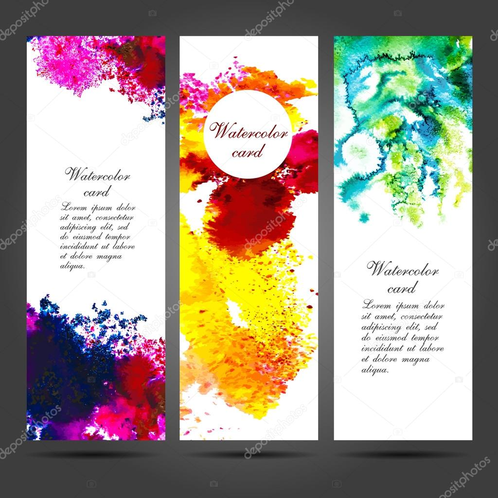 Three vector business cards template with hand painted watercolor three vector business cards template with hand painted watercolor brush strokes backgrounds and splatters eps vetor por alisared835 reheart Gallery