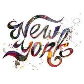 Konceptuální psané věty New York City na bílém pozadí. Vektorové ilustrace
