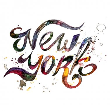 Conceptual handwritten phrase New York City on a white background. Vector illustration