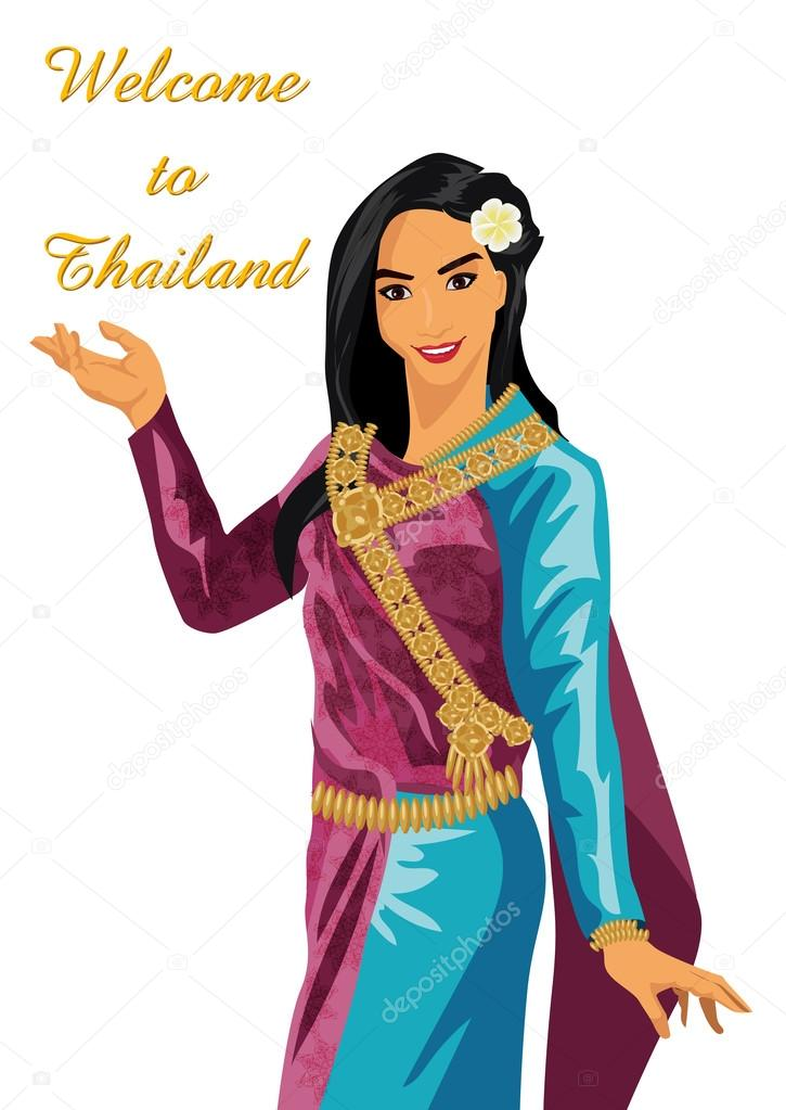 vector Thai Women on a white background