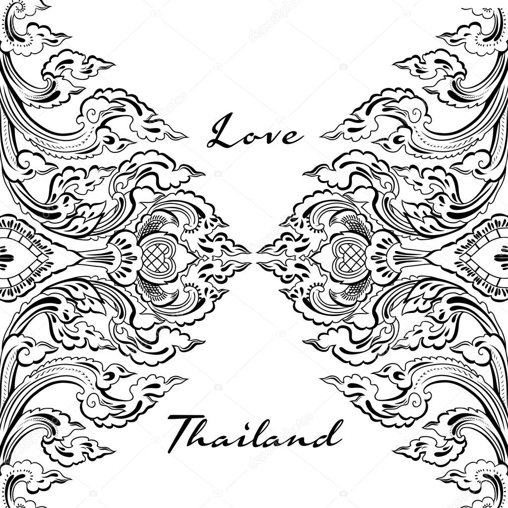 Vector thai floral decorative ornament.