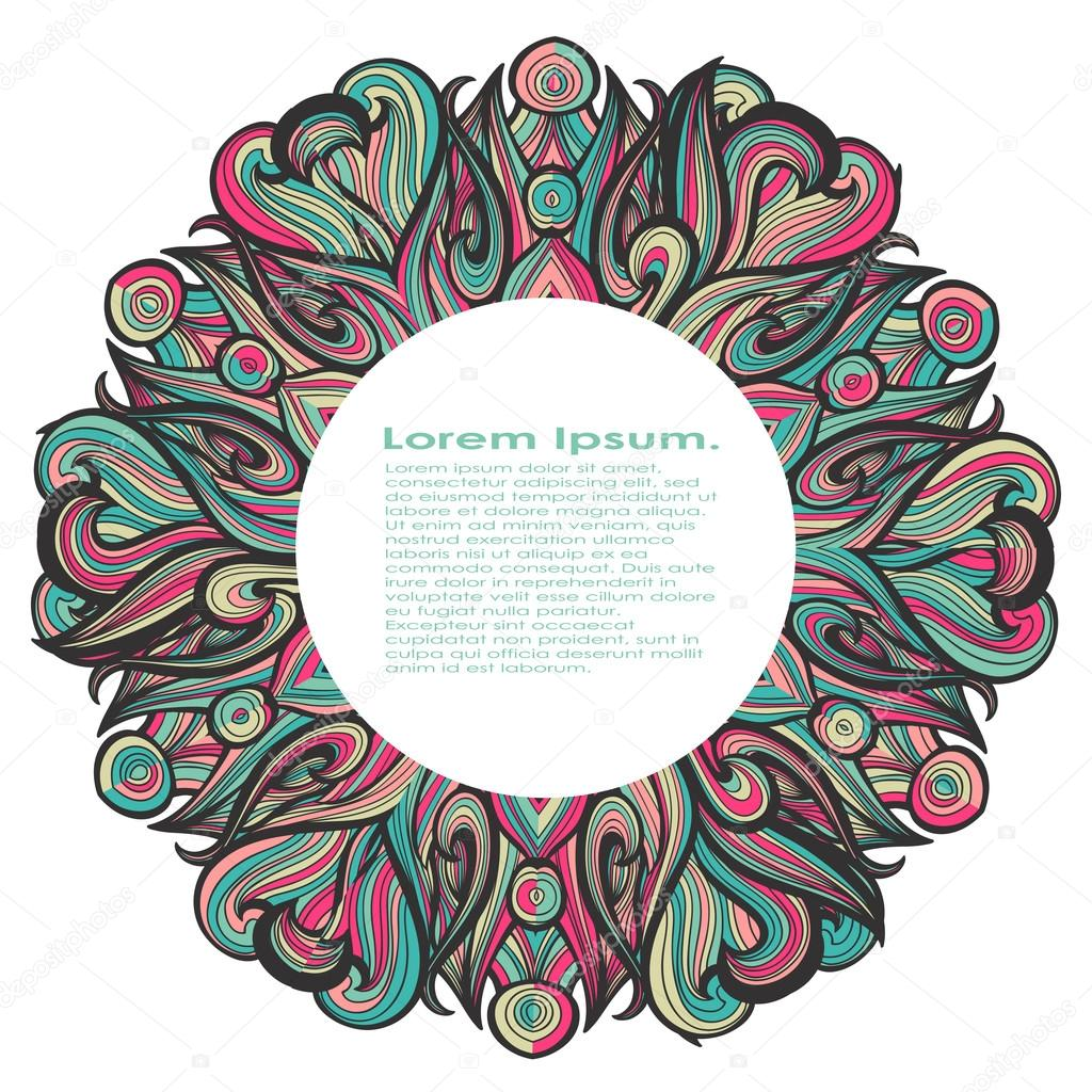 Curl abstract mandala pattern with multicolored waves. Vector illustration