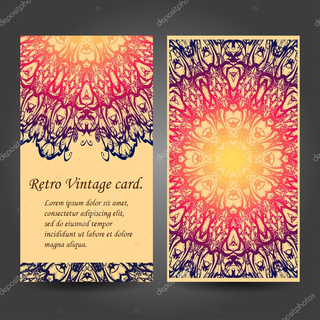 Mandala retro business cards set. Vector background. For invitation. Vintage decorative elements.  Islam, Arabic, Indian, ottoman motifs.