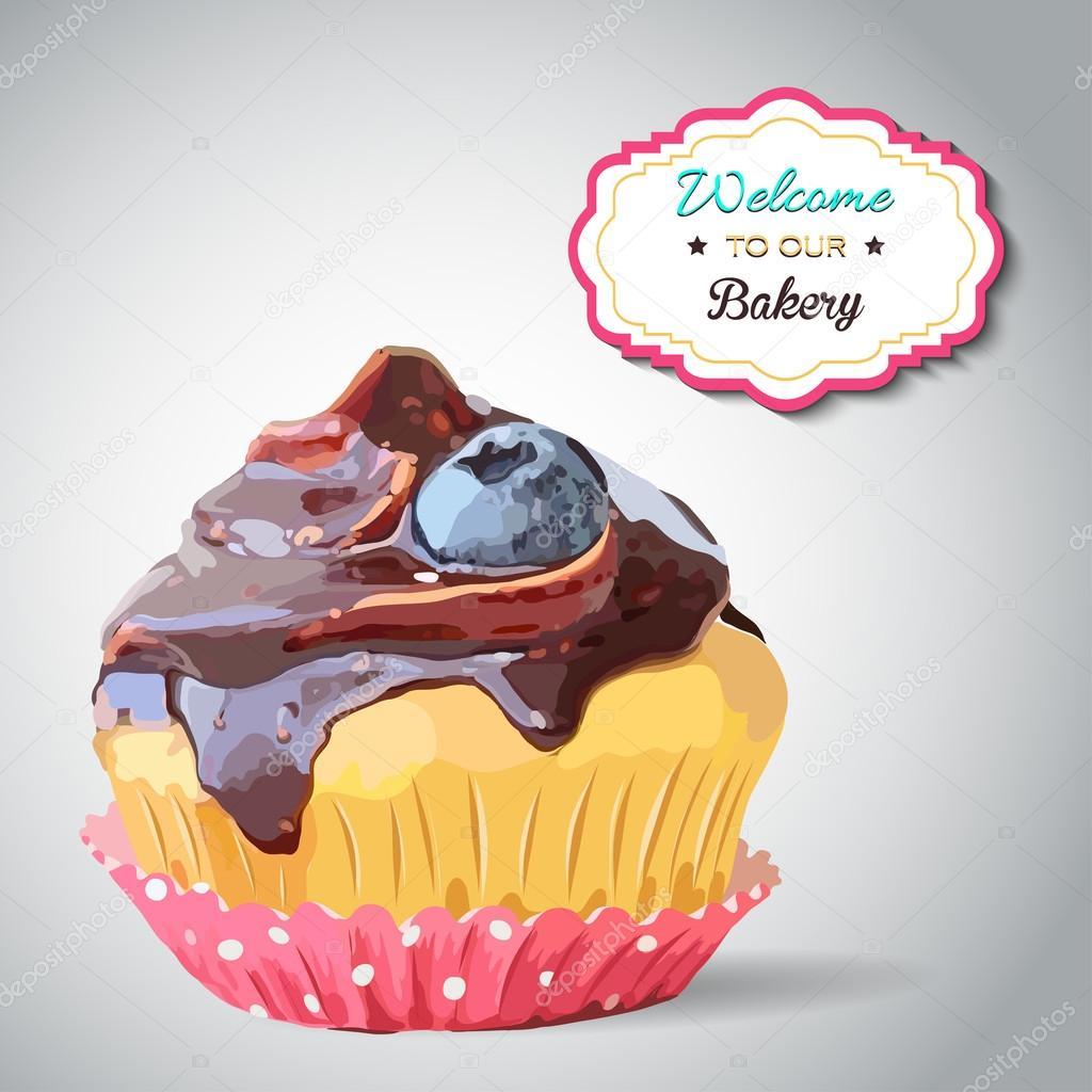 繊細な縞模様の背景にかわいいベクトル パーティー ケーキ。ケーキ
