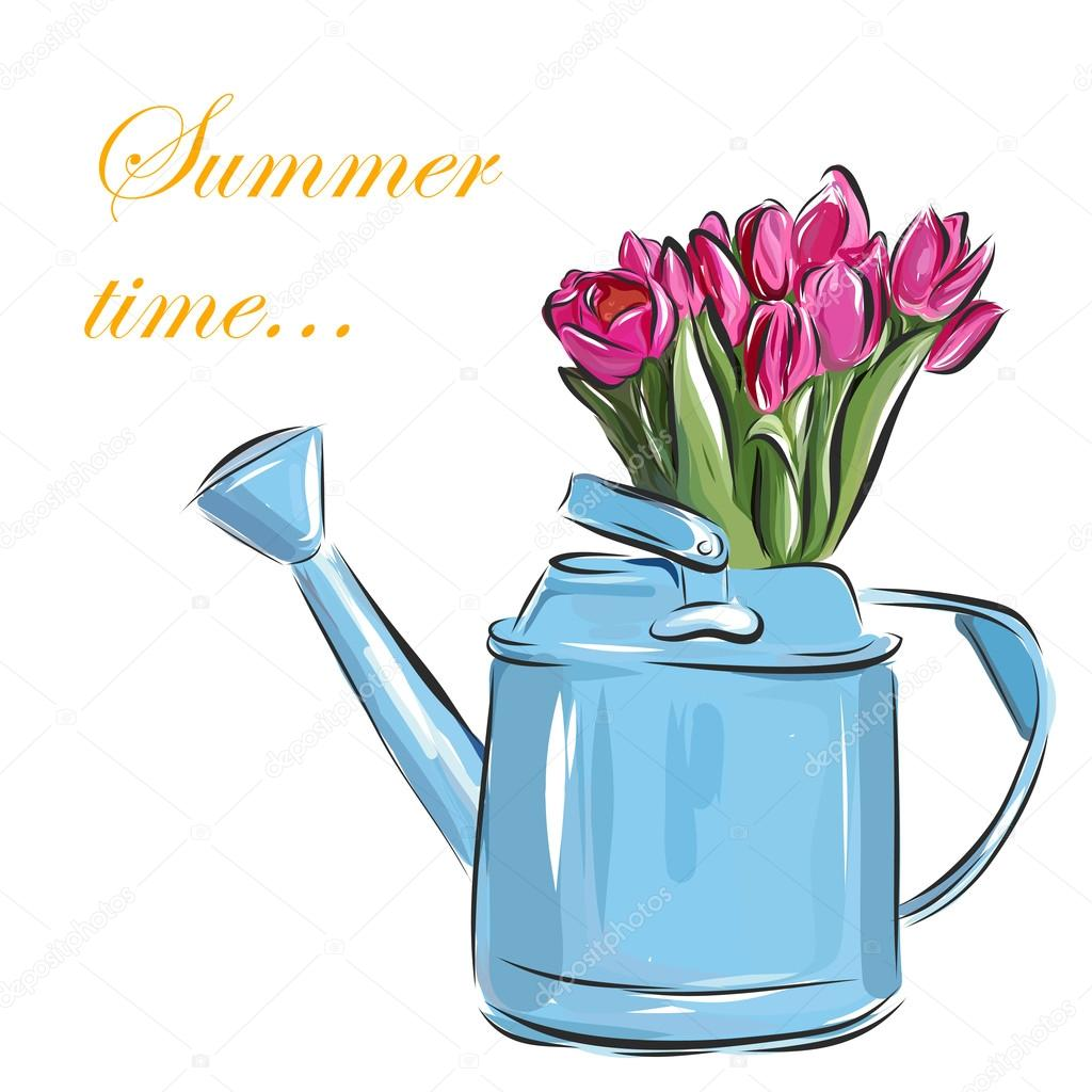 Vector watering can with tulips on a white background.
