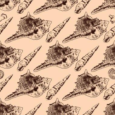 Sea shells vintageseamless pattern texture background
