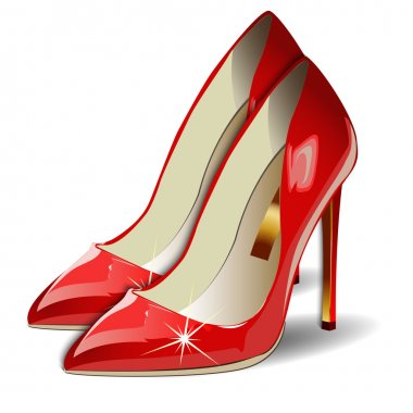 Vector Cartoon Red Women Shoes on white background.