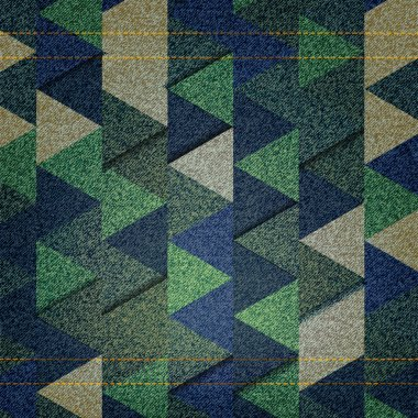 Colorful geometric background with triangles and jeans texture. Vector