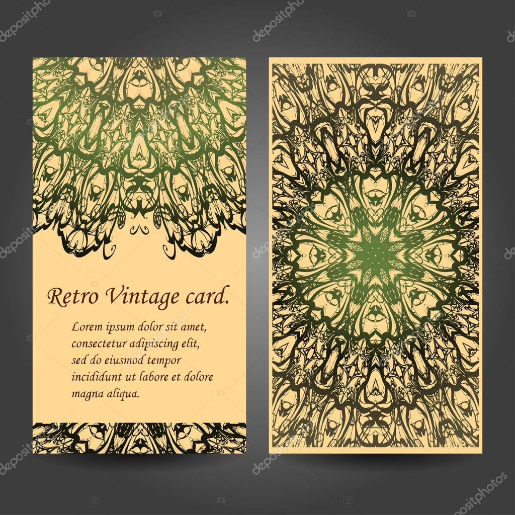 Set retro business card. Card or invitation. Vintage decorative elements. Hand drawn background. Islam, Arabic, Indian, ottoman motifs. Vector