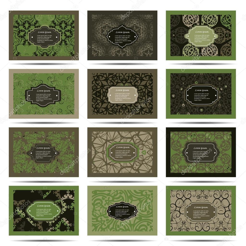 Set retro business card. Card or invitation. Vintage decorative elements. Hand drawn background. Islam, Arabic, Indian, ottoman motifs. EPS  Vector