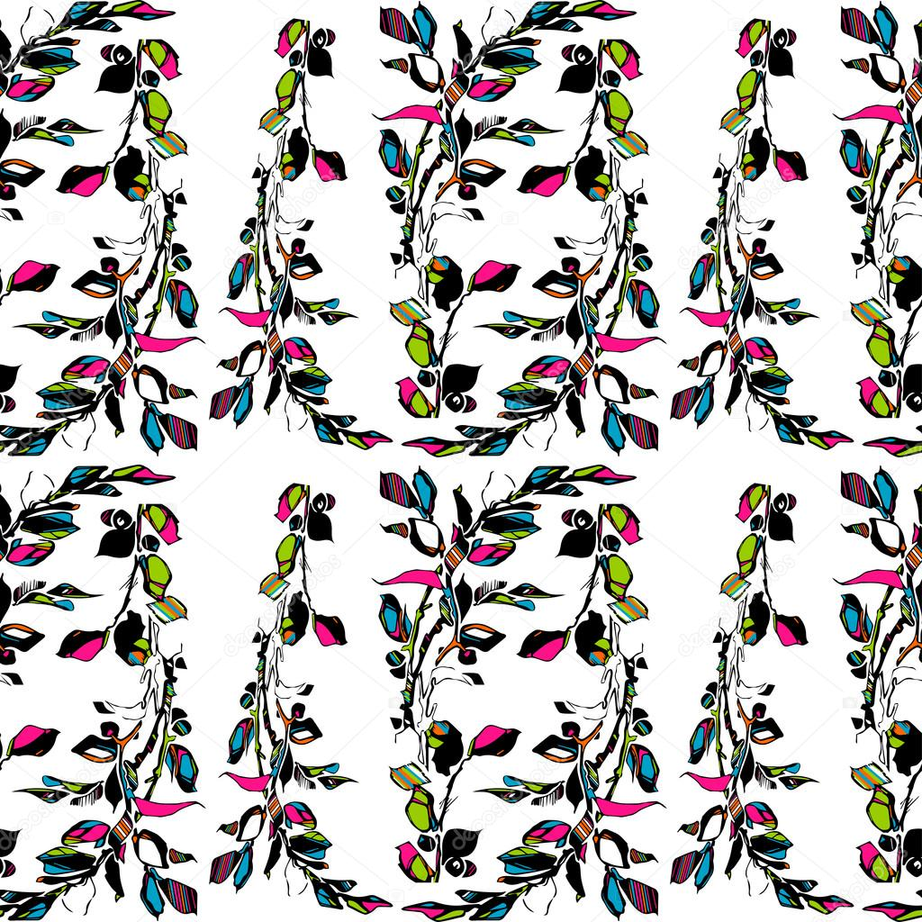 Vector samless plant floral pattern. Abstract green leaves and flowers. illustration