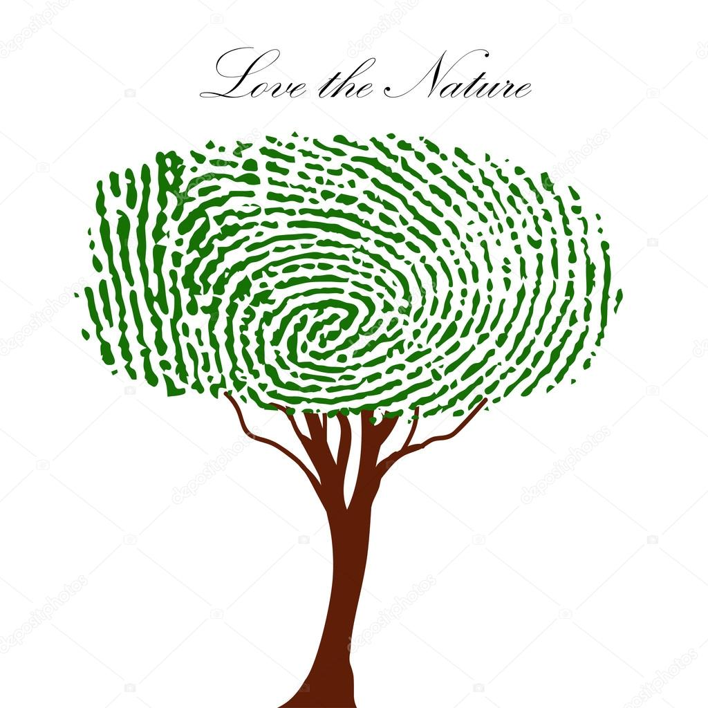Heart green tree with finger prints vector EPS illustration.
