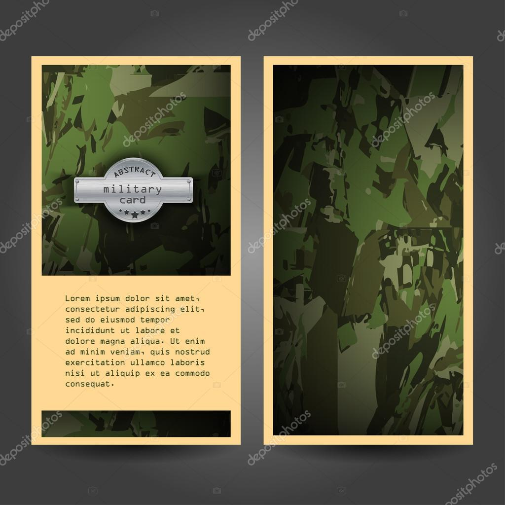 Military stationery template design with camouflage pattern ...