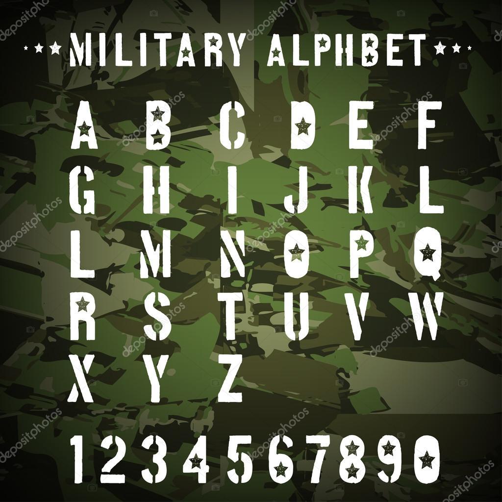 alfabeto militar plantilla sobre un fondo de camuflaje, ilustración ...