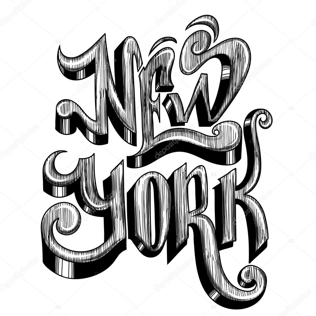 Frase scritta concettuale new york city su una priorit for Disegni new york