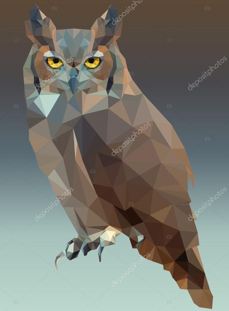 Owl Portrait Low Poly Vector