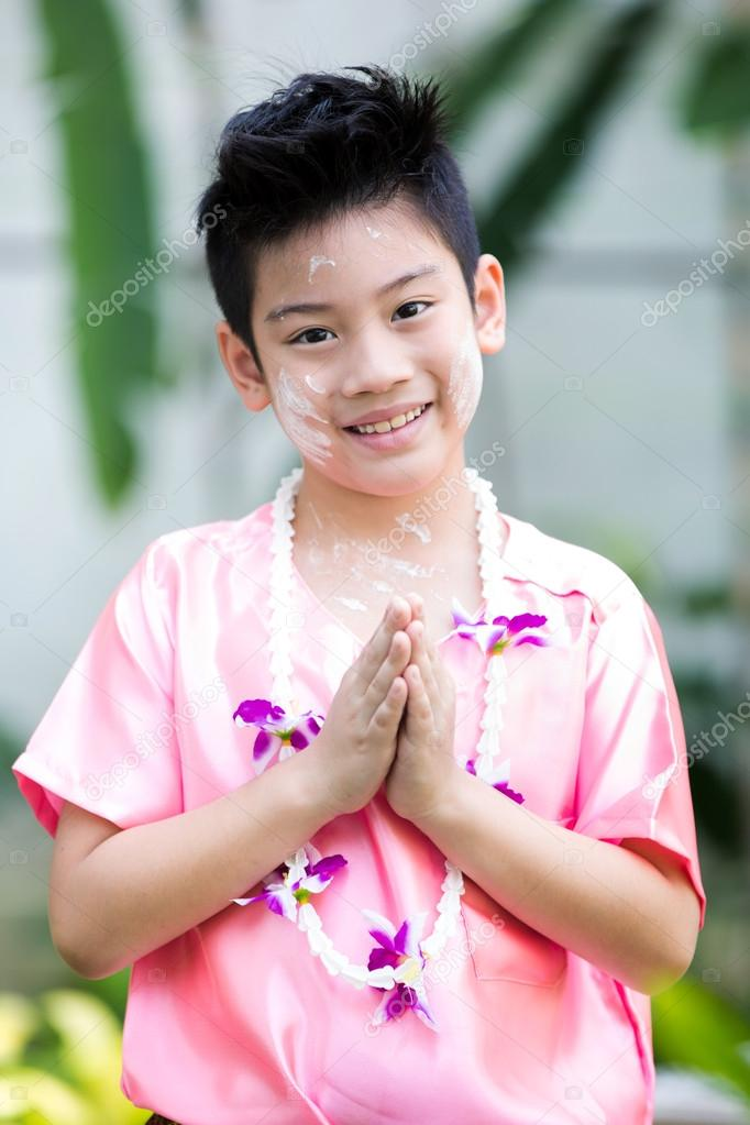 Cute Asian Boy Smiling Thai Suit Photo By Sirikornt